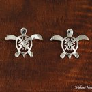 Sterling Silver Quilt in 12mm Sea Turtle (Honu) Post Earrings SE23301