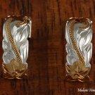 Sterling Silver Two-Tone YG Plated Hawaiian Scroll Half Hoop Earrings SE36305