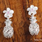 Sterling Silver 8mm Plumeria with Pink CZ and Pineapple Post Earrings SE27102