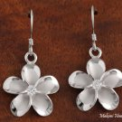 Sterling Silver Rhodium Finish 18mm Plumeria with CZ Hook Earrings SE53858