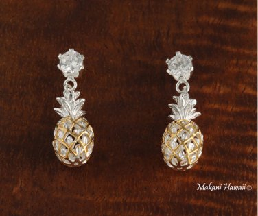 Sterling Silver Two-Tone YG Plated Pineapple and Clear CZ Post Earrings SE27305