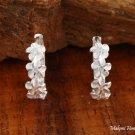 Sterling Silver Six Plumeria with Clear CZ Hoop Earrings SE27601