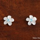 Sterling Silver 10mm Plumeria with Blue CZ Post Earrings SE10303