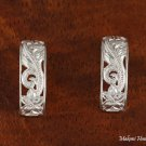 Sterling Silver Hawaiian See Through Scroll Half Moon Post Earrings SE38801