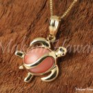 14K Yellow Gold and Pink Coral Inlaid Sea Turtle Pendant Hawaiian Jewelry GP3103