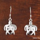 Sterling Silver Plumeria and Sea Turtle (Honu) Hook Earrings SE26401