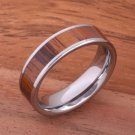 Natural Hawaiian Koa Wood Inlaid Tungsten Flat Wedding Ring 6mm TIP186-6