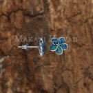 Sterling Silver Blue Opal 10mm Plumeria Post Earrings SOE104