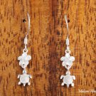 Sterling Silver Honu and 6mm Plumeria with Clear CZ Hook Earrings SE25401