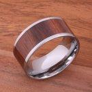 Natural Hawaiian Koa Wood Inlaid Tungsten Flat Wedding Ring 12mm TIP186-12