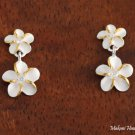 Sterling Silver Two-Tone YG Plated 6+8mm Plumeria with CZ Post Earrings SE18105