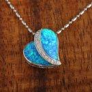 Sterling Silver Blue Opal Heart with CZ Pendant Hawaiian Jewelry SOP1071