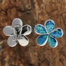 Sterling Silver Blue Opal 22mm Plumeria French Clip Earrings SOE109