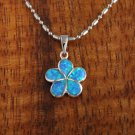 Sterling Silver Blue Opal 12mm Plumeria Pendant Hawaiian Jewelry SOP1008