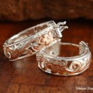 Sterling Silver Two-Tone PG Plated See Through Scroll Hoop Earrings (S) SE39706