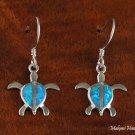 Sterling Silver Blue Opal Sea Turtle (Honu) Hook Earrings SOE129