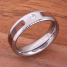 Natural Hawaiian Koa Wood Inlaid Tungsten with CZ Oval Wedding Ring 6mm TPX151