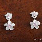 Sterling Silver 6+8mm Plumeria Pink CZ Post Earrings SE18102