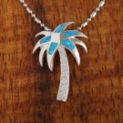 Sterling Silver Blue Opal Palm Tree with CZ Pendant Hawaiian Jewelry SOP1021
