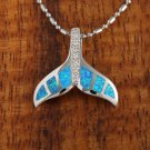 Sterling Silver Blue Opal Whale Tail with CZ Pendant Hawaiian Jewelry SOP1039