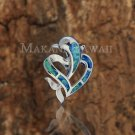 Sterling Silver Blue Opal Dolphin and Heart Pendant Hawaiian Jewelry SOP1056