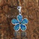 Sterling Silver Blue Opal 22mm Plumeria Pendant Hawaiian Jewelry SOP1003