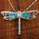 Sterling Silver Blue Opal Dragonfly with CZ Pendant Hawaiian Jewelry SOP1081