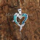 Sterling Silver Blue Opal Dolphin Heart Pendant Hawaiian Jewelry SOP1057