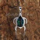 Sterling Silver Blue Opal Sea Turtle (Honu) Pendant Hawaiian Jewlery SOP1018