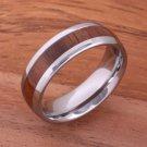 Natural Hawaiian Koa Wood(Big Island Koa)Tungsten Wedding Ring Oval 6mm TUR4002