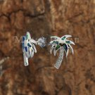 Sterling Silver Blue Opal Palm Tree Post Earrings SOE124