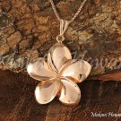 14K Pink Gold Plumeria Flower Pendant 18mm Hawaiian Jewelry GP3146