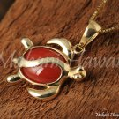 14K Yellow Gold and Red Coral Inlaid Sea Turtle Pendant Hawaiian Jewelry GP3102