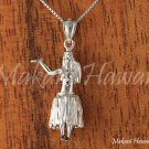 14K White Gold Hula Dancer Pendant (L) Hawaiian Jewelry GP3129