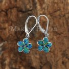 Sterling Silver Blue Opal 12mm Plumeria Lever Back Earrings SOE113