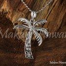 14K White Gold Palm Tree Pendant (M) Hawaiian Jewelry GP3105