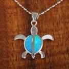 Sterling Silver Blue Opal Sea Turtle (Honu) Pendant Hawaiian Jewelry SOP1011