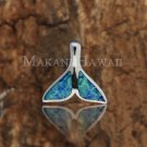 Sterling Silver Blue Opal Whale Tail Pendant Hawaiian Jewelry SOP1037