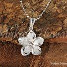 14K White Gold Pluemeria Flower Pendant 16mm Hawaiian Jewelry GP3150