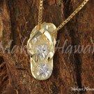 14K Yellow Gold/White Gold Hawaiian Slipper Pendant (M) Hawaiian Jewelry GP3138