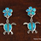 Sterling Silver Blue Opal 10mm Plumeria and Honu Post Earrings SOE115