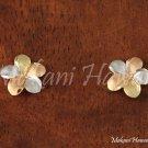 14K Tri-Color Gold Plumeria Flower Post Earrings Hawaiian Jewelry GE2132