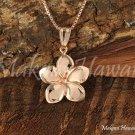14K Pink Gold Plumeria Flower Pendant 12mm Hawaiian Jewelry GP3155