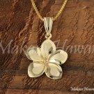 14K Yellow Gold Plumeria Flower Pendant 16mm Hawaiian Jewelry GP3149