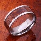 Koa Wood Tungsten Wedding Ring Flat 10mm