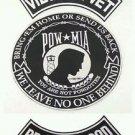 Pow MIA Large Back Patches Set Vietnam Vet Brotherhood Rockers & Center Patch