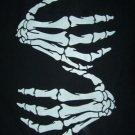 Biker t shirt black with white skeleton hands print