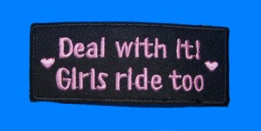 DEAL WITH IT GIRLS RIDE TOO PATCH FOR WOMENS VEST JACKET NEW