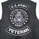 US Army Back Patches Veteran 3 Pc Set Rockers & Center Patch for Jacket or Vest
