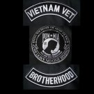 Vietnam Vet BrotherHood POW Large Back Patch Rockers Set For Jacket Vest Veteren